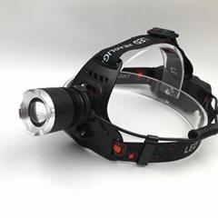 強光T6充電頭燈旋轉調焦頭燈LED頭戴燈戶外照明打獵