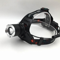 强光T6充电头灯旋转调焦头灯LED头戴灯户外照明打猎
