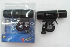 高檔8W超亮 LED鋁合金手電筒/車燈/自行車燈帶閃