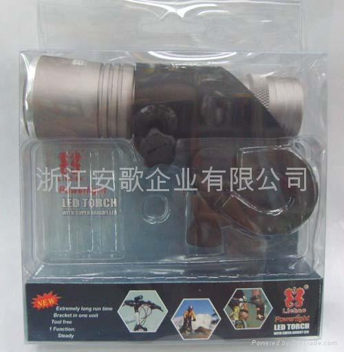 印17W 超亮LED铝合金彩头黑身手电筒 车灯 自行车灯带闪H805 1