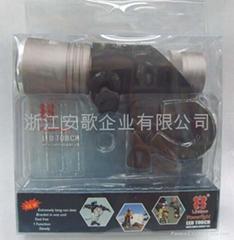 印17W 超亮LED鋁合金彩頭黑身手電筒 車燈 自行車燈帶閃H805