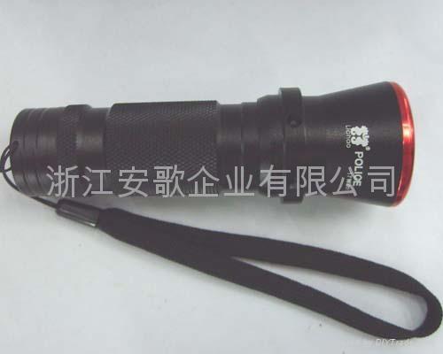 印17W 超亮LED铝合金彩头黑身手电筒/车灯/自行车灯带闪 1