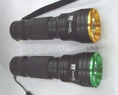 印17W 超亮LED铝合金彩头黑身手电筒 车灯 自行车灯带闪