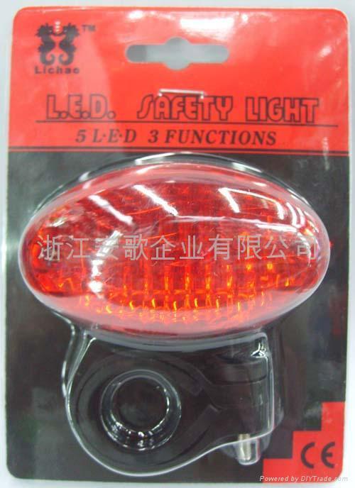3/5/7功能5LED自行車尾燈/安全燈/警示燈 1