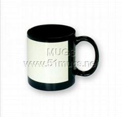 熱轉印杯子-花紙杯(黑杯白花紙)  花紙杯 熱轉印馬克杯 塗層杯 全彩杯
