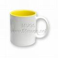 11oz Sublimation Blank Coated Two-Tone Mug—Inner Yellow color mugs