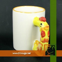 11oz sublimation coated animal ceramic mug with chook/chicken handle (Hot Product - 1*)