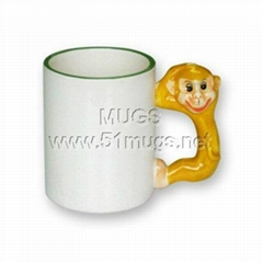 11oz sublimation coated animal ceramic mug with handle monkey