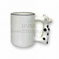 11oz sublimation coated animal ceramic mug with handle cow