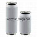 280ml Stainless Steel Coke Can With Straw White