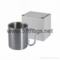 8oz sublimation Silver Stainless Steel Mug with Silver Carabineer Handle