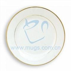 "10"" Rim Plate w/Gold Trim"