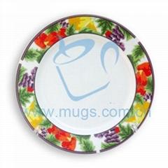 8寸紅草莓盤 熱轉印花邊盤 影像盤 塗層盤 可印圖盤子