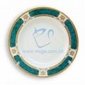 "8"" Rim Plate with Design Green Edge"