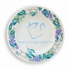 8寸豆花盤 熱轉印花邊盤 個性盤 影像盤 DIY盤子