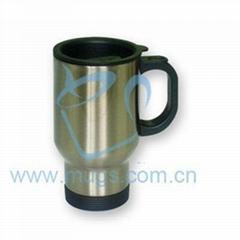 不鏽鋼杯(不帶絲網印) 全銀汽車杯 個性馬克杯 塗層杯