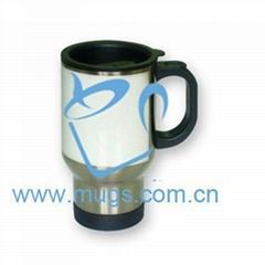 熱轉印不鏽鋼杯(帶絲網印)汽車杯-半白 個性杯 不鏽鋼杯