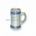 蓝加金线啤酒杯 热转印啤酒杯