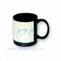 熱轉印杯子-花紙杯(黑杯白花紙)  陶瓷杯 個性杯 馬克杯