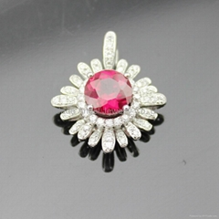 Sterling Si  er Jewelry Round Cut Ruby Cubic Zircon Pendant