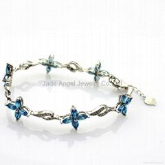 Sterling Silver Jewelry Blue Topaz Cubic Zircon Bracelet