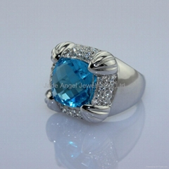 925 Sterling Silver Blue Topaz Cubic Zircon Ring