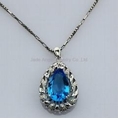 Sterling Silver Jewelry Blue Topaz Drop Pendant