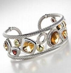 David Yurman Bracelet 925 Silver Citrine Oval Mosaic Cuff