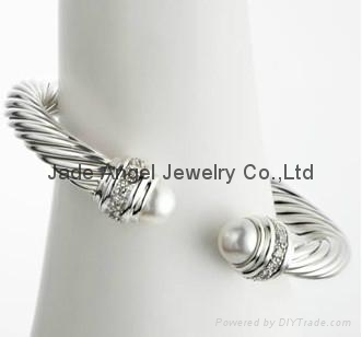 David Yurman Designer Inspired Jewelry Pearl Silver Ice Bracelet 1