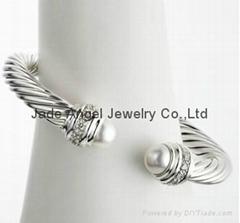 David Yurman Designer Inspired Jewelry Pearl Si  er Ice Bracelet