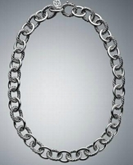David Yurman Designer Inspired 925 Si  er Oval Link Necklace