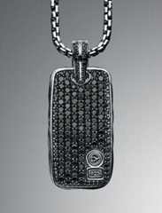 David Yurman Chevron Black Diamond Dog Tag