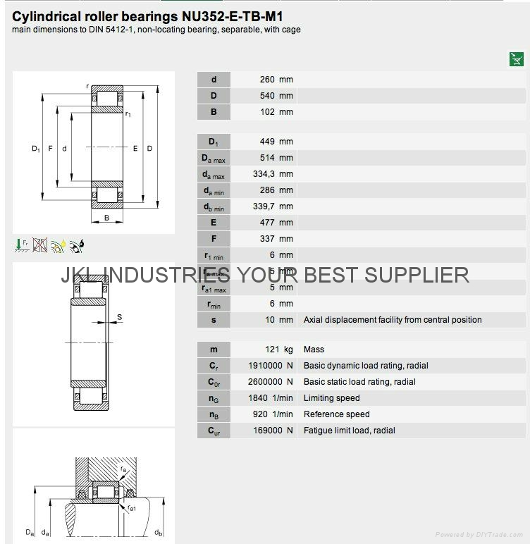 CYLINDRICAL ROLLER BEARINGS NU352-E-TB-M1 1