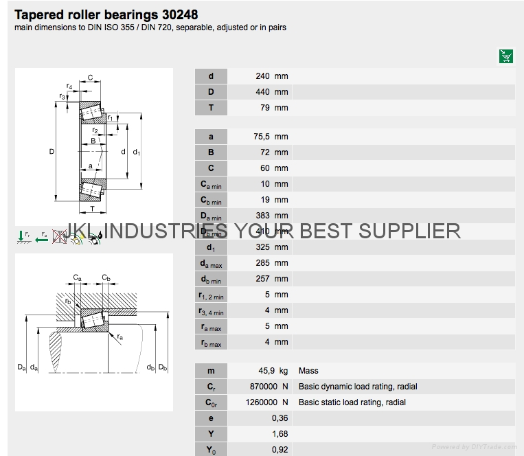 TAPERED ROLLER BEARINGS 30248 1