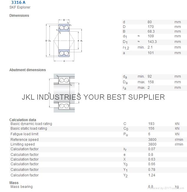 SKF   3316 A  Angular Contact Ball bearings 1