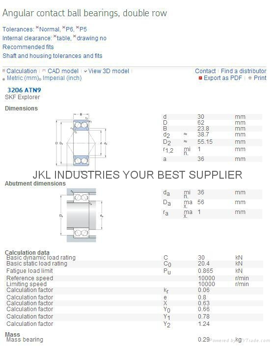 SKF   3206 ATN9/C3   Angular Contact Ball Bearings  3