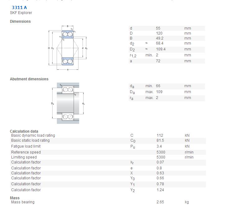 SKF   3311 A   Angular Contact Ball bearings 3