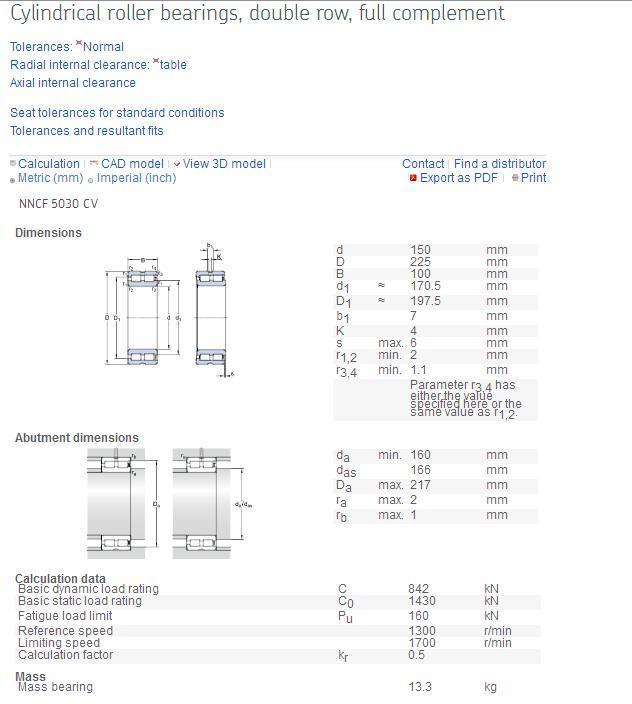 SKF NNCF5030CV Cylindrical Roller Bearing - ETR/JKL/SKF/FAG