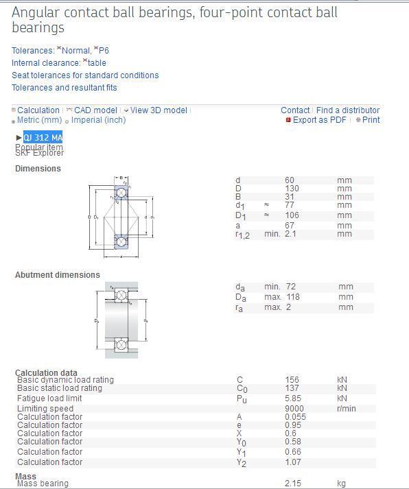 FAG  QJ312MPA  Angular Contact Ball Bearing 2