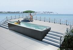 蒙娜丽莎户外浴缸独立式spa冲浪按摩浴缸进口亚克力浴缸M-3325
