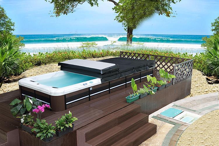 蒙娜丽莎8档无极变速家用超大型运动冲浪无边际户外游泳池SPA浴缸