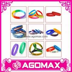 Debossed Color Filled Sports Rubber Bracelet Cheap Custom Silicone Wristband