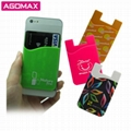 3M sticky silicone cellphone card wallet mobile phone smart pocket