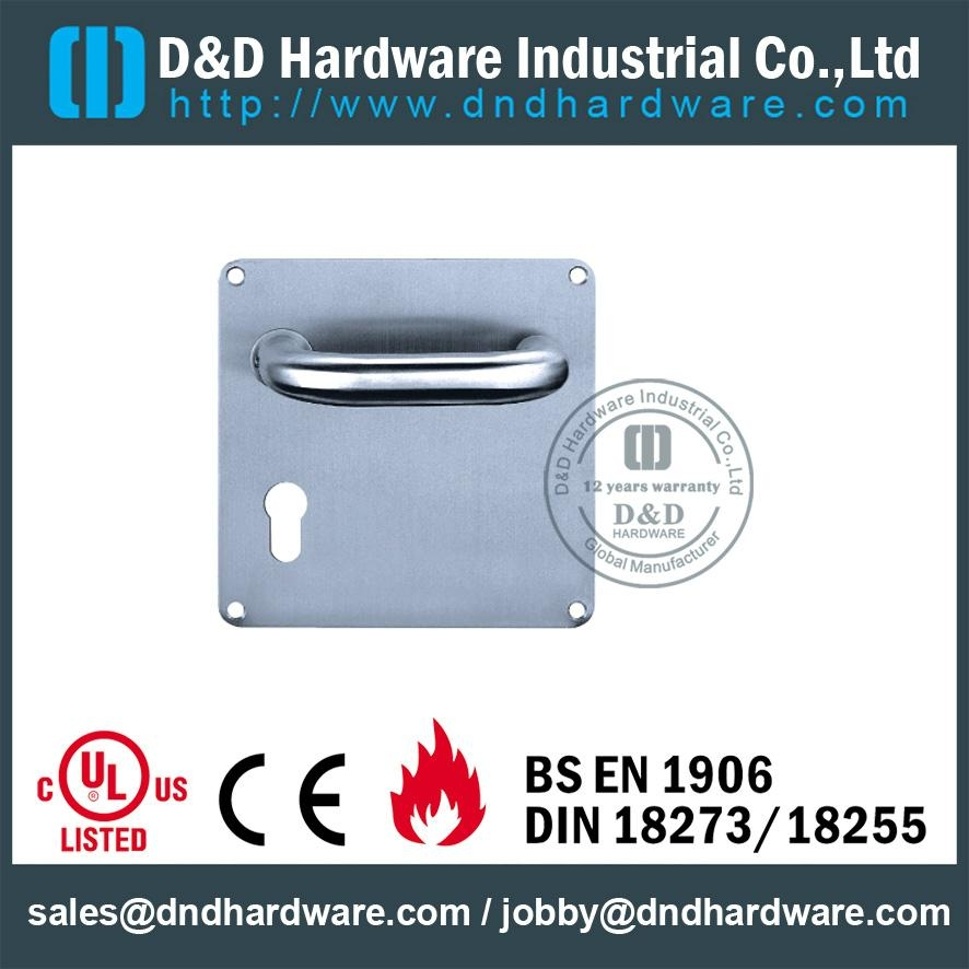 stainless steel solid door handle with plate ANSI Standard  DDTP001