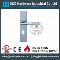 Stainless steel door handle with plate CE UL certificated lock