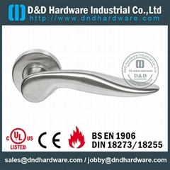 Solid lever stainless steel door handle BS EN 1906 Grade3 & Grade 4