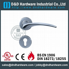 Solid stainless steel lever door handle