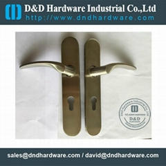 Stainless steel door handle with plate BS EN 1906 grade 3 & grade 4