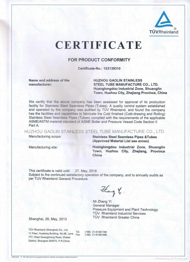 ASME certificate by TUV