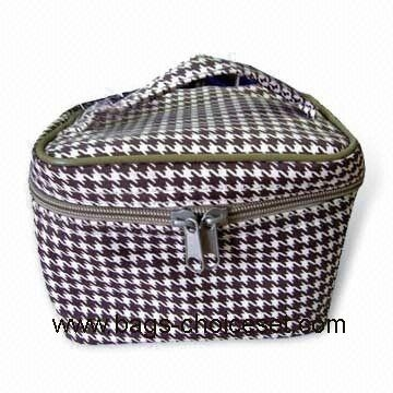600D Polyester with Grid Fabric Cosmetic Bag